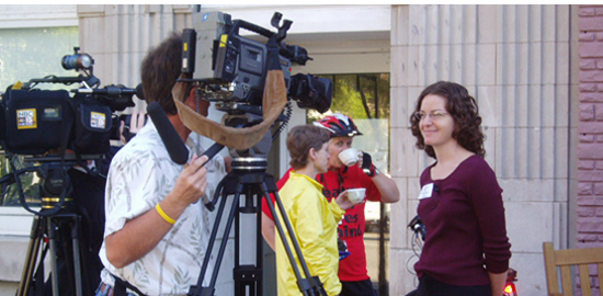 Subject: Rebecca Grossberg speaks with the media; Location: Madison, WI; Date: September 22, 2005; Photographer: Sonya Newenhouse
